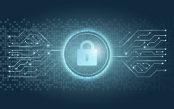 Blue padlock icon computer security system vector