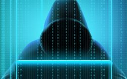 Colored hacker code realistic composition with person creates codes for hacking and stealing information vector illustration